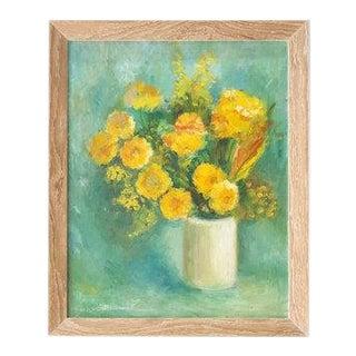 Framed Vintage Floral Oil Painting, M. Schwartz