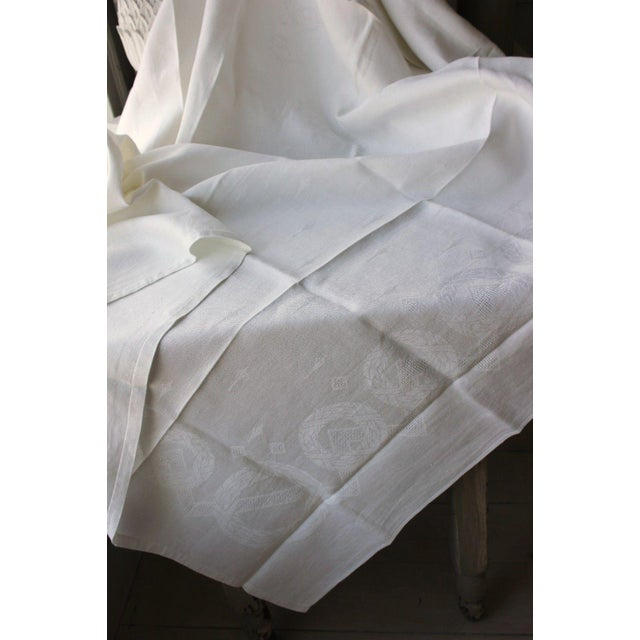 """Vintage French White Linen Cotton Damask """"VT"""" Christmas Tablecloth - 62"""" x 90"""" For Sale - Image 6 of 9"""