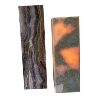Modern Cliff Young Onyx Light Up Pedestals- A Pair For Sale