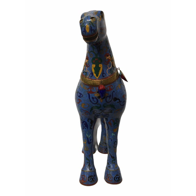 Blue Vintage Chinese Cloisonné Horse Statue For Sale - Image 8 of 13