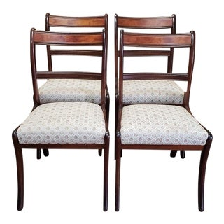 Set of Four English Traditional Mahogany Dining Chairs C.1940s For Sale