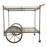Image of Chrome and Brass Bar Cart Attributed to Maison Jansen For Sale