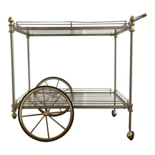 Chrome and Brass Bar Cart Attributed to Maison Jansen For Sale