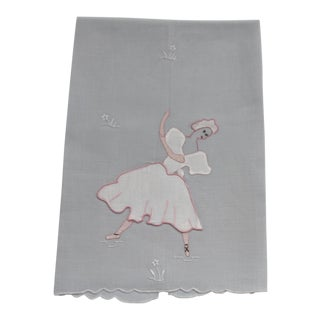Gray Ballerina Applique Hand Towel For Sale