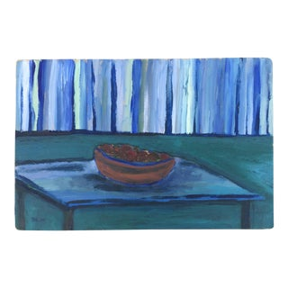 Oil on Wood Blue Still Life Painting For Sale