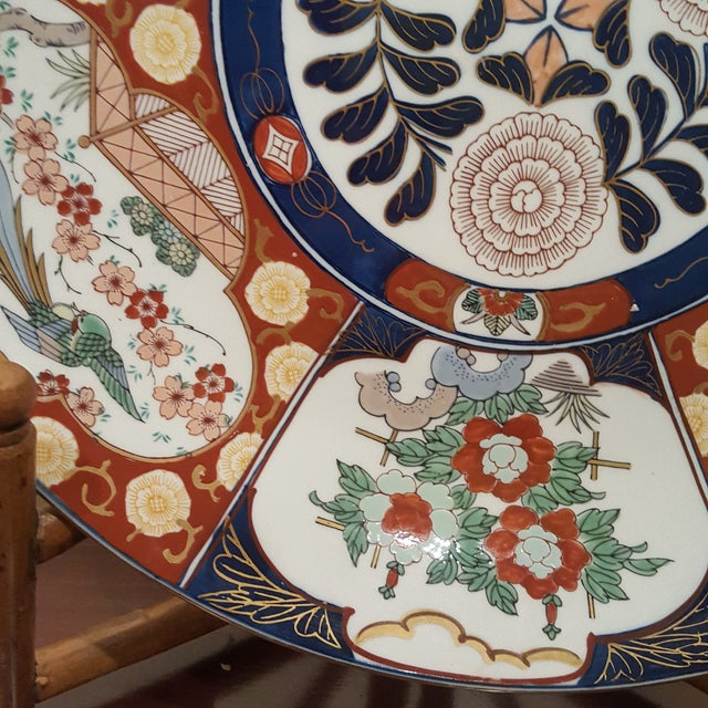 Vintage Imari Porcelain Charger on Bamboo Stand For Sale In Chicago - Image 6 of 8