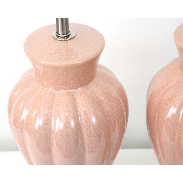 Art Deco Revival Pink Crackle Glaze Lamps - Pair - Image 3 of 6