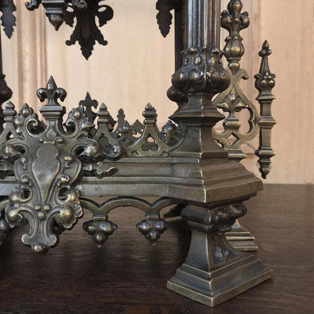Mantel Clock, 19th Century French Gothic in Bronze For Sale - Image 11 of 13