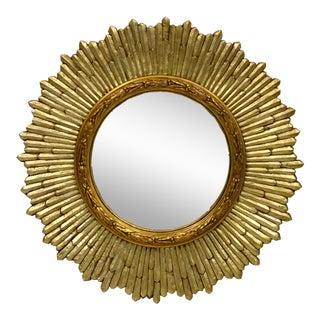 Hollywood Regency Italian Giltwood Convex Sunburst Mirror For Sale