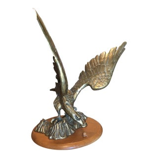 Large Solid Brass Eagle on Wooden Stand For Sale