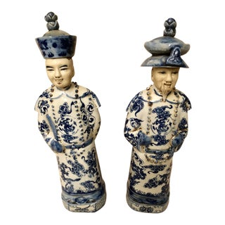 Chinoiserie Asian Ceramic Figurines - a Pair