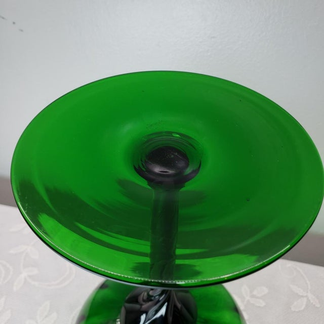 "Emerald Mid Century Italian Emerald Green Art Glass Vase Vintage Murano 12"" For Sale - Image 8 of 11"