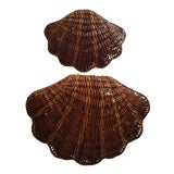 Image of Mid-Century Modern Nesting Wicker Shell Baskets - a Pair For Sale