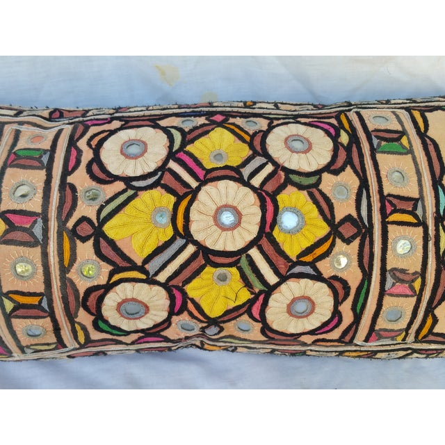 Hand Embroidered Rajasthani Lumbar Pillow - Image 3 of 5