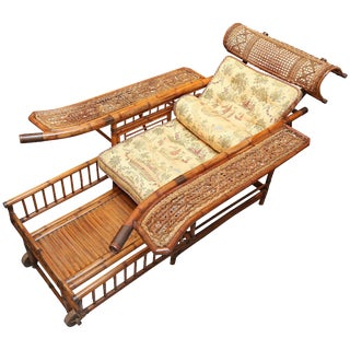 "Rare 19th Century ""Indochine"" Bamboo Plantation Chair For Sale"