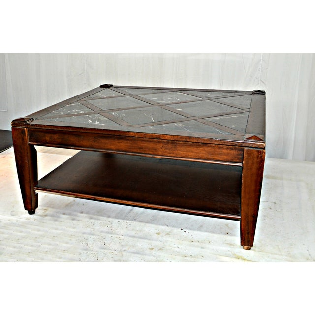vintage solid wood coffee table w marble top chairish. Black Bedroom Furniture Sets. Home Design Ideas
