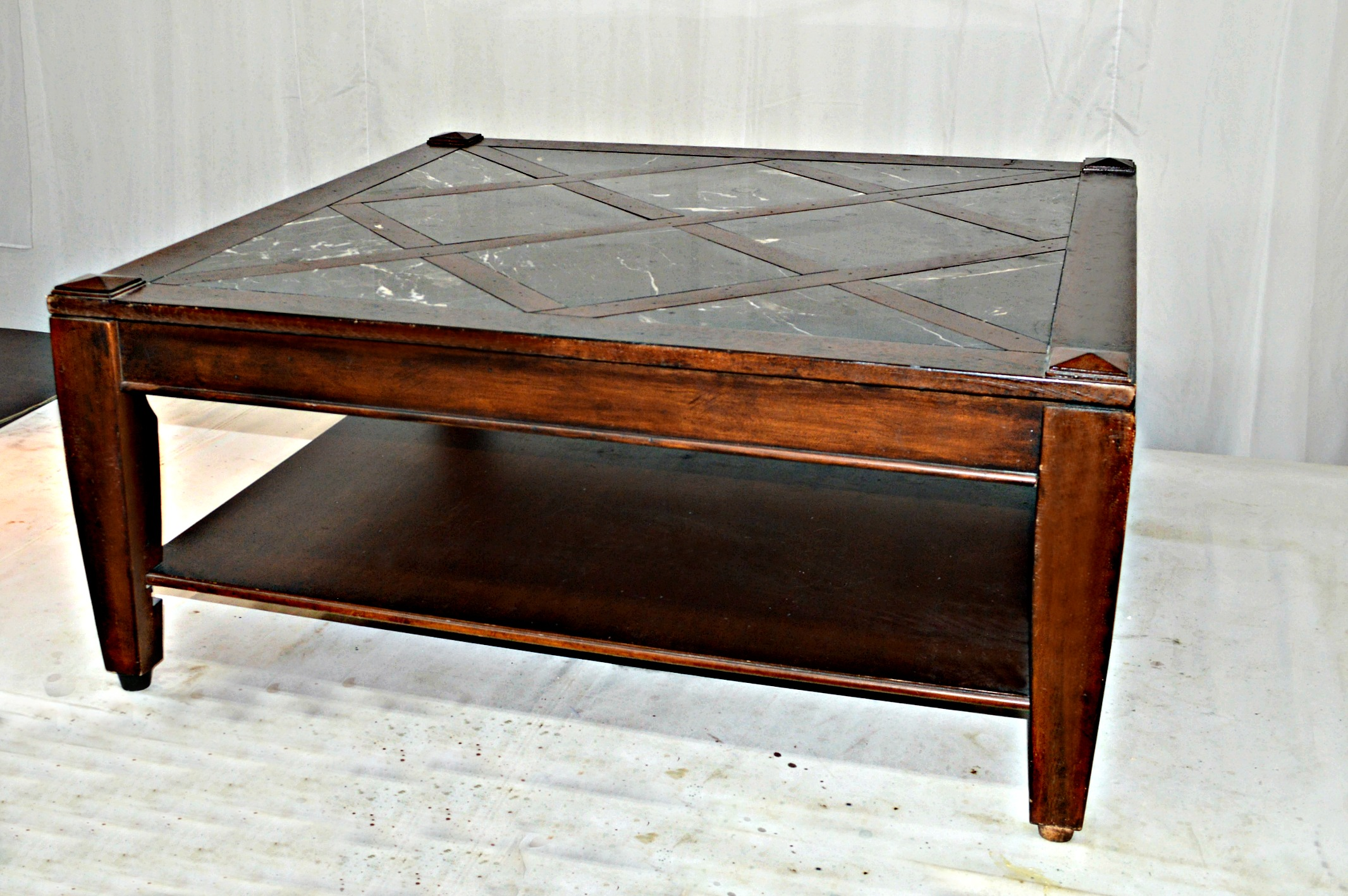 Vintage Great Coffee Table Made Of Solid Wood. Lattice Design On Top With  Black Marble