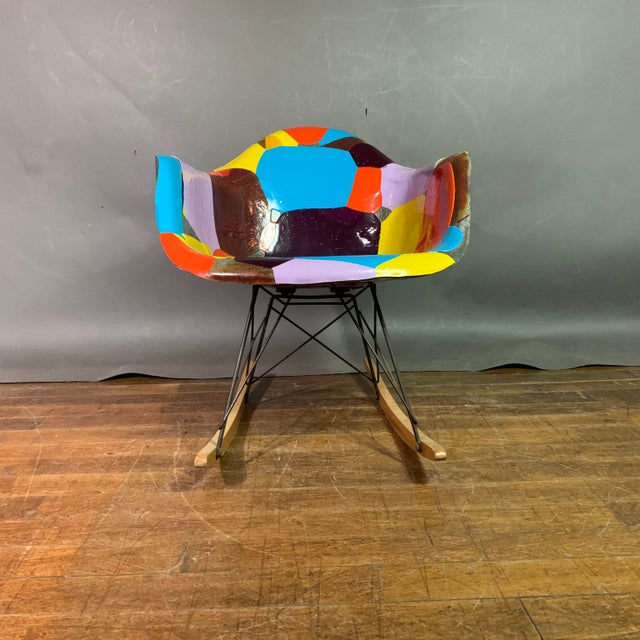 Metal 1950s Jim Oliveira for Eames Rope Edge Rocking Chair For Sale - Image 7 of 13