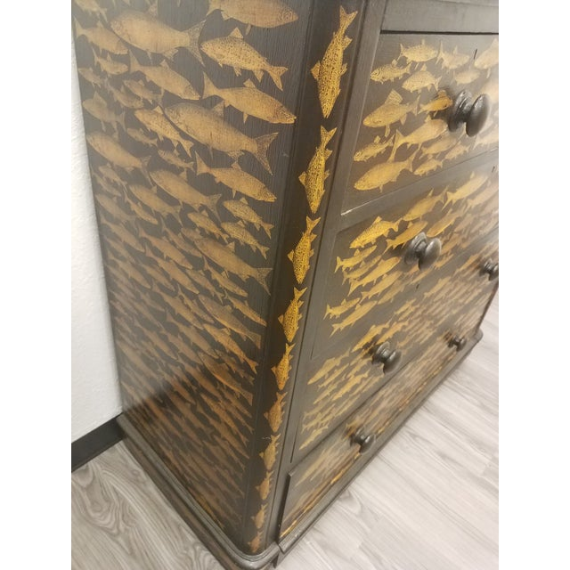 Black Antique English Fish Decoupage Chest of Drawers For Sale - Image 8 of 13