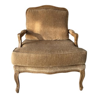 French-Style Taupe Brown Comfort Chair For Sale