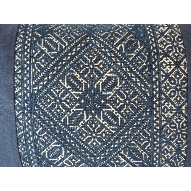 Traditional Woven Black and Indigo Fez Textile Lumbar Decorative Pillow For Sale - Image 3 of 5