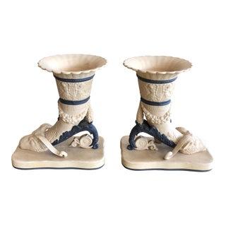 Marbro Italy Trumpet Cornucopia Ram Vases - a Pair For Sale