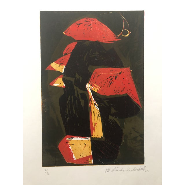 Red Mid-Century Modern Rooster European Woodcut 1950s For Sale - Image 8 of 8