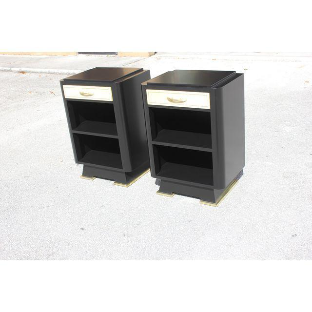 Classic Pair Of French Art Deco Parchment/ Ebonized Side Table / Nightstands, Circa 1940's - Image 10 of 11