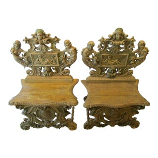 Antique Italian Renaissance Sgabello Carved Walnut Hall Chairs - a Pair For Sale