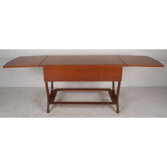 Brown RWAY Mid-Century Modern Drop-Leaf Console Table For Sale - Image 8 of 11