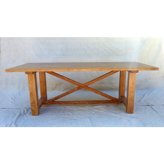 Mission Vintage Pickled Teak Trestle Table For Sale - Image 3 of 11