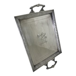 Antique Silverplate Engraved Yosemite 1891 Large Handled Tray For Sale
