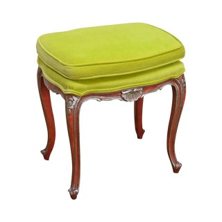 French Louis XV Style Vintage Lime Green Upholstered Stool W/ Painted Base For Sale