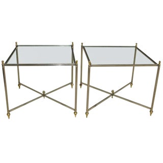 Italian Jansen Style Steel Brass Side End Tables - a Pair