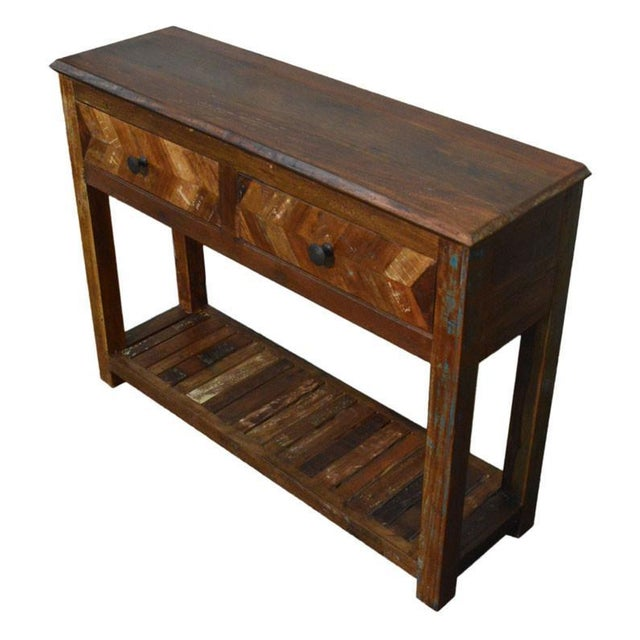 Reclaimed wood free standing console chairish for Where to find reclaimed wood for free