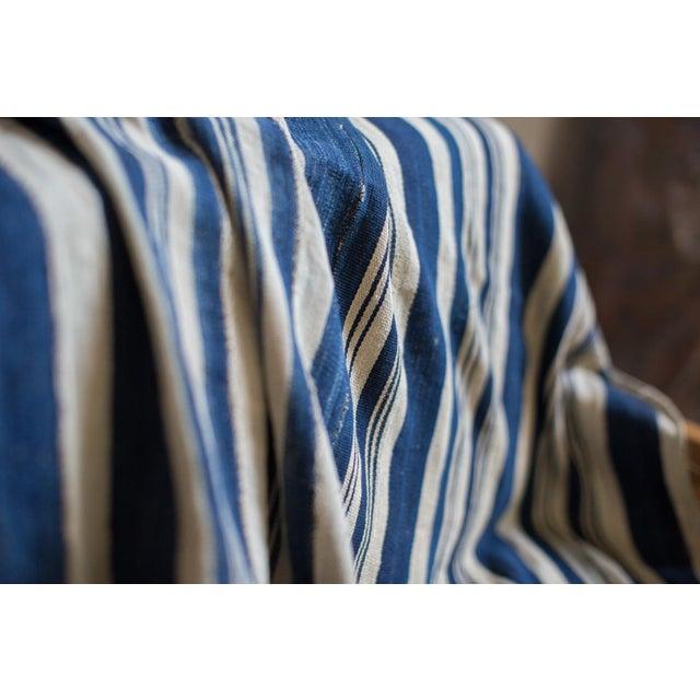 Vintage Hand Woven Indigo Stripe Throw For Sale - Image 5 of 6