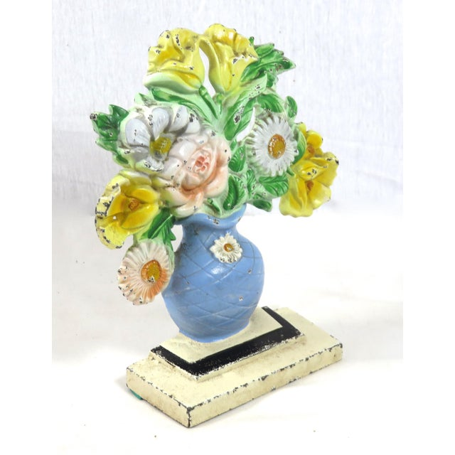 Hubley Manufacturing Company Vintage 1920s Hubley Cast Iron Flower Doorstop For Sale - Image 4 of 13