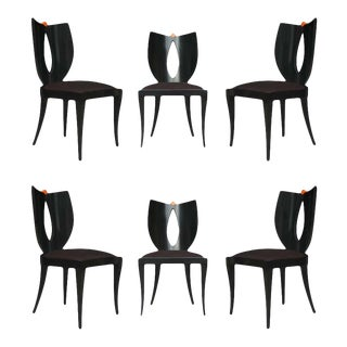 1980s Mid-Century Italian PostModern Black Lacquer Armless Dining Chairs - Set of 6 For Sale