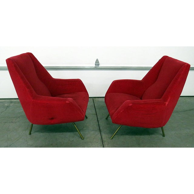 Gio Ponti Mid 20th Century Red Italian Modern Lounge Chairs - a Pair For Sale - Image 4 of 9