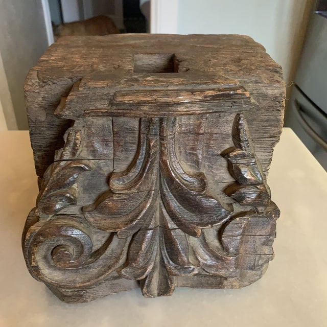 Late 19th Century English Colonial Indian Carved Teak Column Base Architectural Element C 1890 For Sale - Image 5 of 13