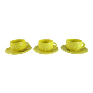 Vintage Yellow Cabbage Majolica Tea Cup and Saucer - Set of 3 For Sale