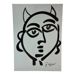 Abstract Expressionist Devil Painting by Peter Keil For Sale