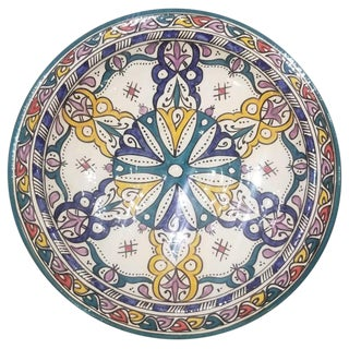 Moroccan Hand Painted Pottery Plate, Multi-Color 96 For Sale