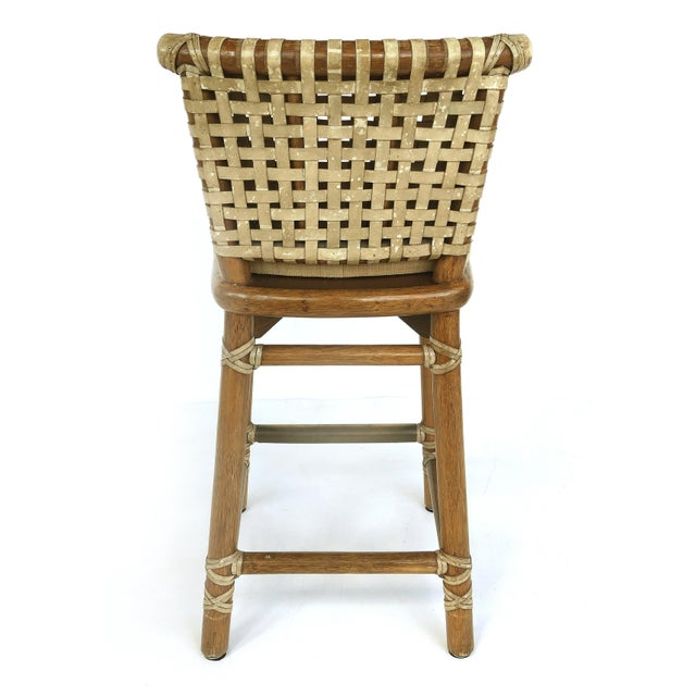 McGuire San Francisco Leather Bound Counter Stools W/ Raffia Seats - A Pair For Sale In Miami - Image 6 of 13