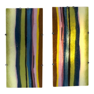Pair of Vintage Murano Blown and Lit Wall Panels