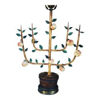 Vintage Tole Apple Tree Espalier Lamp For Sale