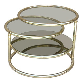 20th Century Contemporary Gold Glass Swivel Tier Side Table For Sale