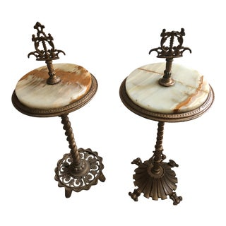 Early 20th Century Marble Rembrandt Tables - Set of 2