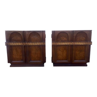 Pair of Greek Key Burl Wood Night Stands or End Tables For Sale