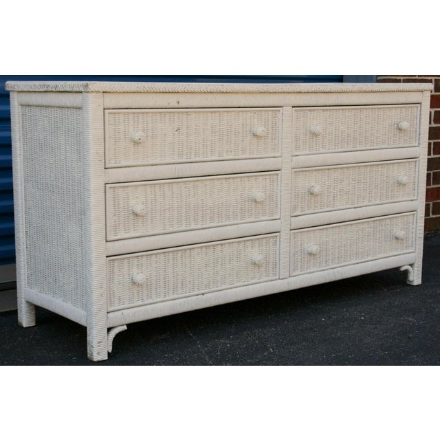 Henry Link White Wicker 6-Drawer Double Dresser - Image 4 of 11
